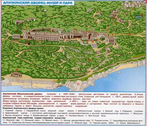 Алупкинский парк, карта-схема